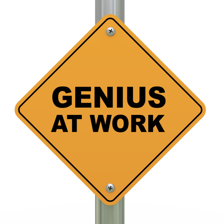 mastery: 3d illustration of yellow roadsign of genius at work