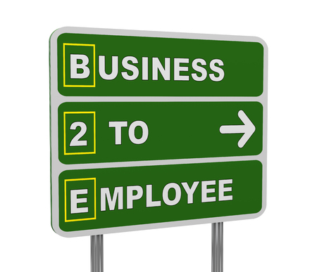 b2e: 3d illustration of green roadsign of acronym b2e - business to employee