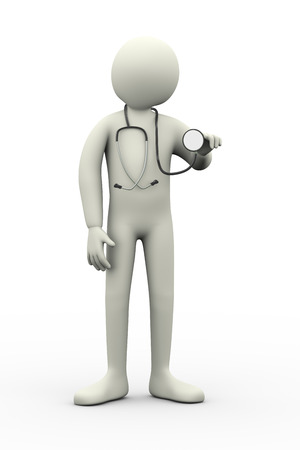 3d illustration of doctor with stethoscope  3d rendering of man - people character  illustration