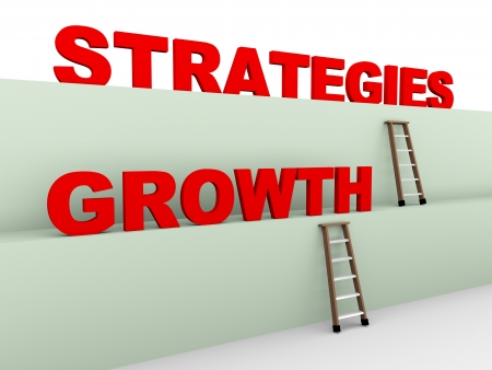 specific: 3d illustration of ladder and concept of growth strategies
