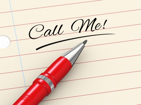 3d render of pen on paper written call me Stock Photo - 22993082