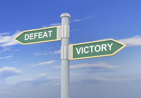 defeat: 3d illustration of roadsign of words defeat and victory