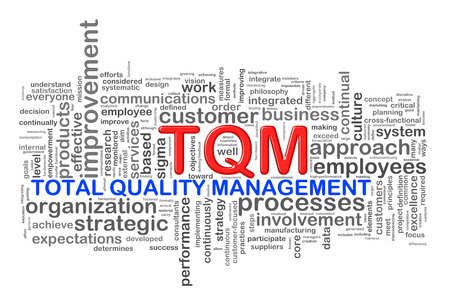 Illustration of wordcloud word tags of tqm - total quality management illustration
