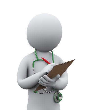 3D-afbeelding van arts met een stethoscoop schrijven patiënt medisch dossier 3D-rendering van de mens - mensen karakter