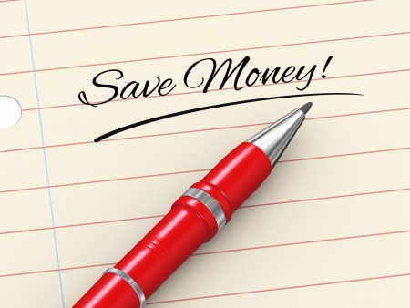 3d render of pen on paper written save money Stock Photo - 22997259