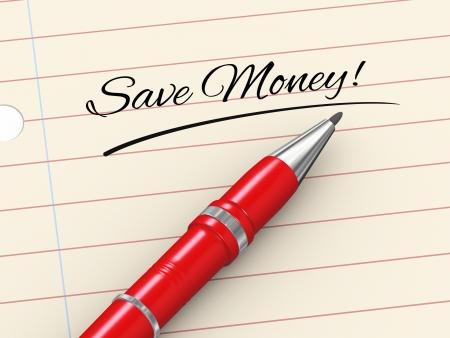 3d render of pen on paper written save money Stock Photo - 22997259