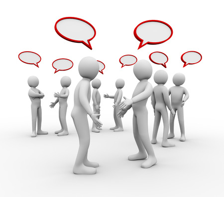 dispute: 3d illustration of different groups of people with empty bubble speech talking and discussion   3d rendering of human people character