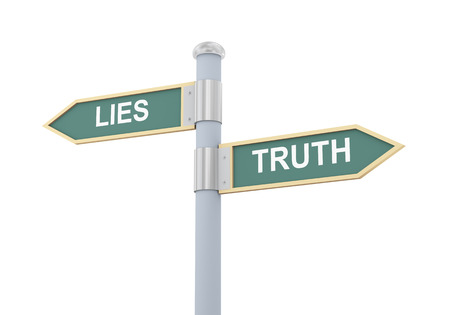 lies: 3d illustration of roadsign of words lies and truth