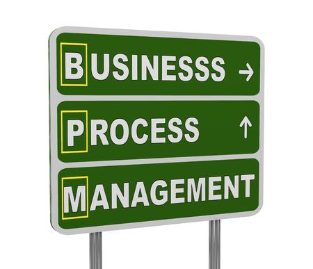 acronym: 3d illustration of green roadsign of acronym bpm - business process management