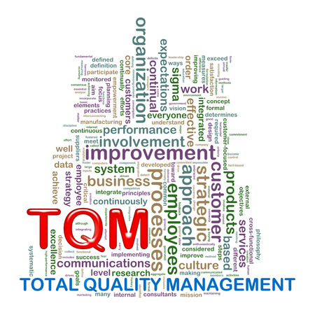 total: Illustration of word tags wordcloud of tqm - total quality management