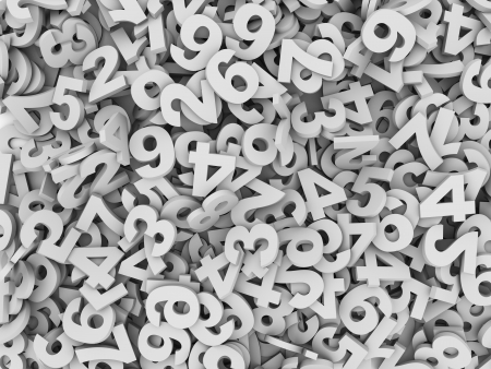 lots: 3d illustration of heap of numeric numbers abstract background