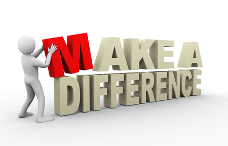 different idea: 3d illustration of person with make a difference phrase    3d rendering of human people character