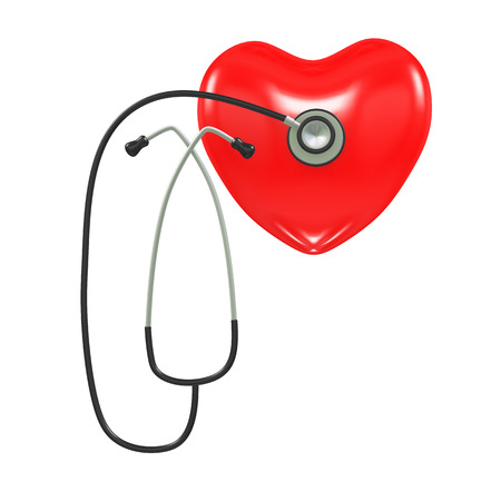 auscultation: 3d illustration of 3d stethoscope checking healthy heart