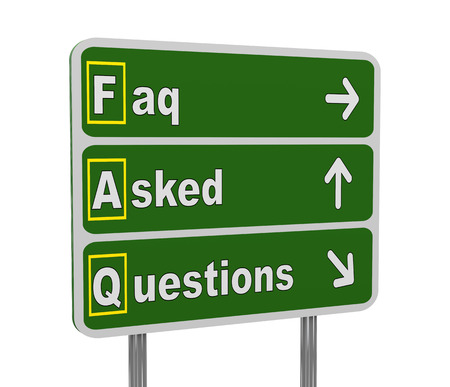 acronym: 3d illustration of green roadsign of acronym faq - frequently asked questions