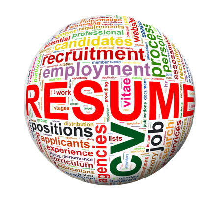 job hunting: Illustration of sphere ball of of resume Stock Photo