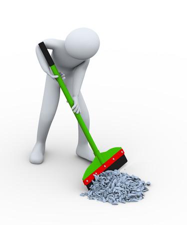 3D-afbeelding van schonere persoon met vloer wisser verwijderen en schoonmaken prullenbak puin 3D-weergave van het menselijk mensen karakter