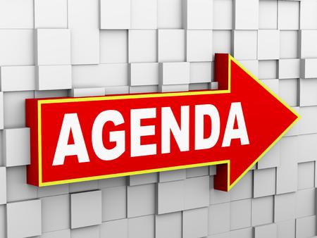 3d illustration of abstract cube wall arrow design concept of agenda illustration