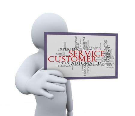 3D-afbeelding van de persoon weer klantenservice wordcloud woord-tags 3D-weergave van de menselijke mensen karakter