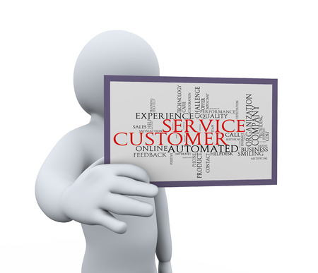 3d illustration of person showing customer service wordcloud word tags   3d rendering of human people character  illustration