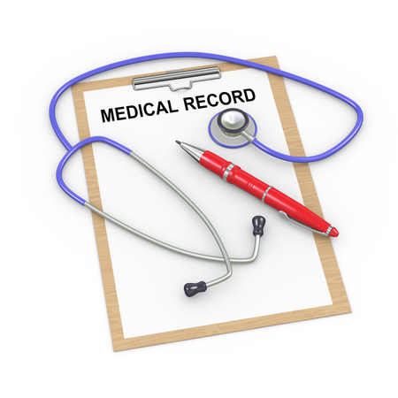 3d illustration of stethoscope, pen and medical history record clipboard Stock Photo