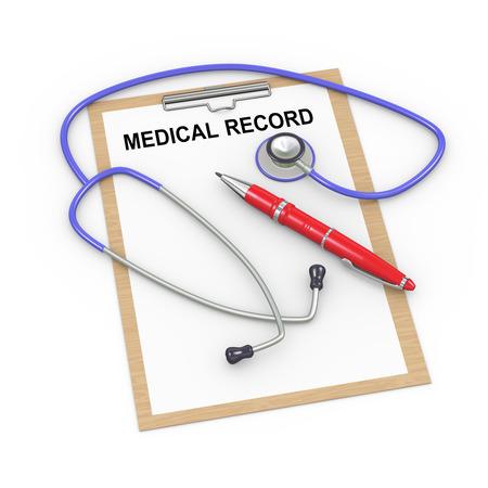 historia clinica: Ilustraci�n 3D de estetoscopio, la pluma y el historial m�dico portapapeles registro Foto de archivo