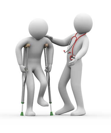 injure: 3d illustration of physical therapist with stethoscope helps a man on crutches   3d rendering of human people character