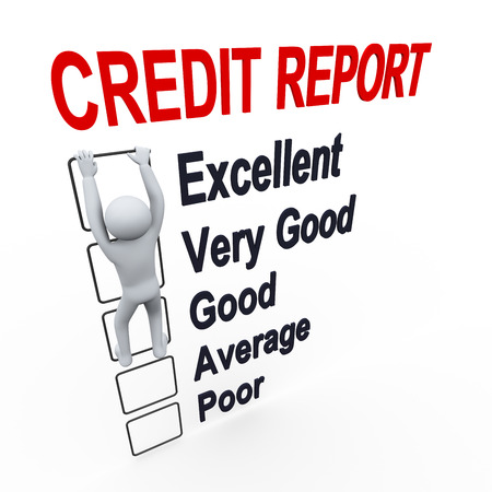 credit report: 3d illustration of person climbs up boxes of credit score report   3d rendering of human people character