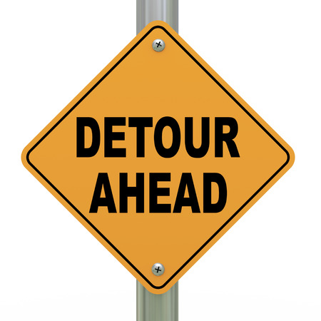 divert: 3d illustration of yellow roadsign of detour ahead Stock Photo
