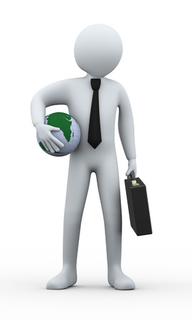 outsourcing: 3d illustration of man with briefcase holding world earth globe   3d rendering of human people character