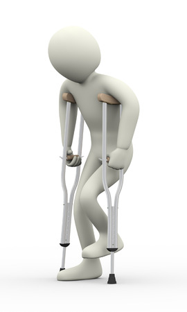 3d illustration of disabled injured person walking with crutches   3d rendering of human people character