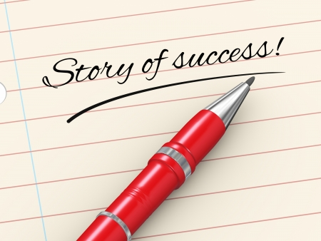 accomplishments: 3d render of pen on paper written story of success Stock Photo