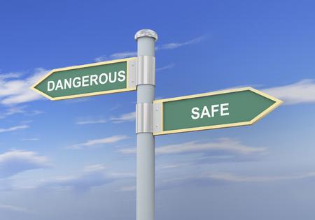 safeguarded: 3d illustration of roadsign of words dangerous and safe