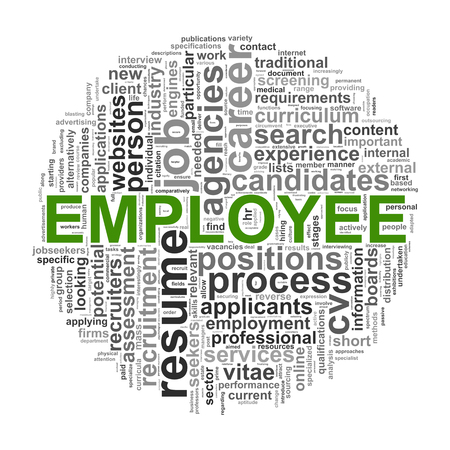 Illustration of circular design wordcloud word tags of employee Stock Illustration - 23474643