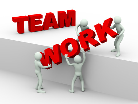 3d illustration of men working together and placing word team work   3d rendering of human people character and concept of team work