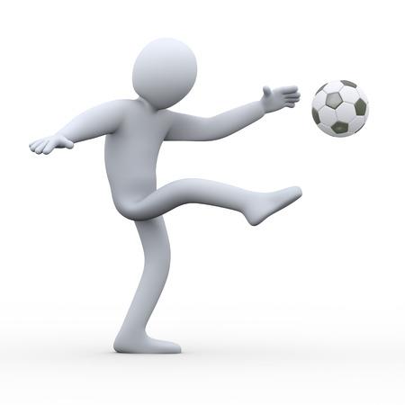kickball: 3d illustration of man kicking soccer football   3d rendering of human people character  Stock Photo