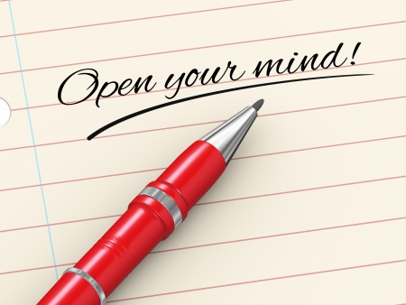 3d render of pen on paper written open your mind  Stock Photo - 23711580
