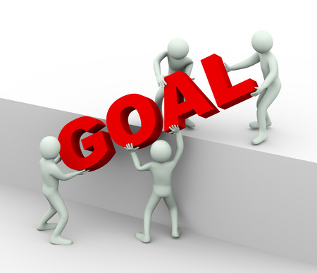 3d illustration of men working together and placing word goal   3d rendering of human people character and concept of goal and target achieving