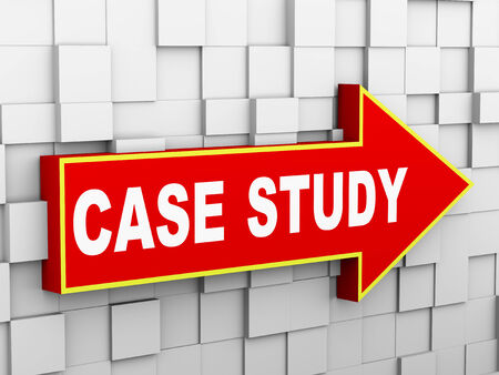 causation: 3d illustration of abstract cube wall arrow design concept of case study