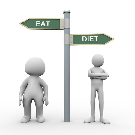 lose balance: 3d illustration of fat man and slim smart person and road sign post of diet and eat   3d rendering of human people character