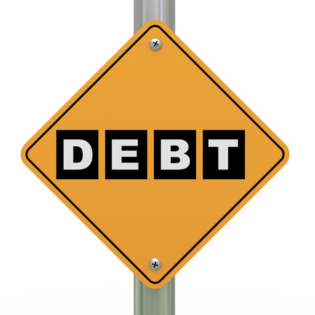 3d illustration of yellow roadsign of debt  illustration