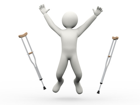 3d illustration of person joyful jump throwing crutches   3d rendering of human people character Stock Photo