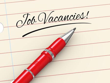 vacancies: 3d render of pen on paper written job vacancies