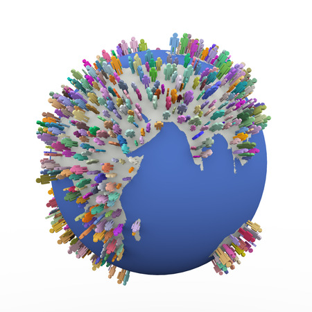 global village: 3d illustration of different colorful people standing on world earth globe  Concept of global village, people network and communication