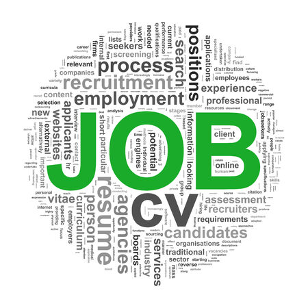job hunting: Illustration of circular design wordcloud word tags of job