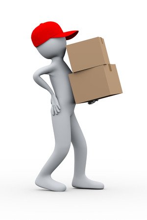 back injury: 3d illustration of delivery person suffering from painful backache while holding parcel packet   3d rendering of human people character