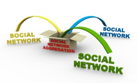 aggregation: 3d illustration of concept of social network aggregation