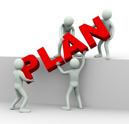 plan という単語を配置する男性の 3 d イラストレーション。 人間の人々 の文字とチームの仕事の 3 d レンダリング。