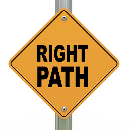righteous: 3d illustration of yellow roadsign of right path Stock Photo