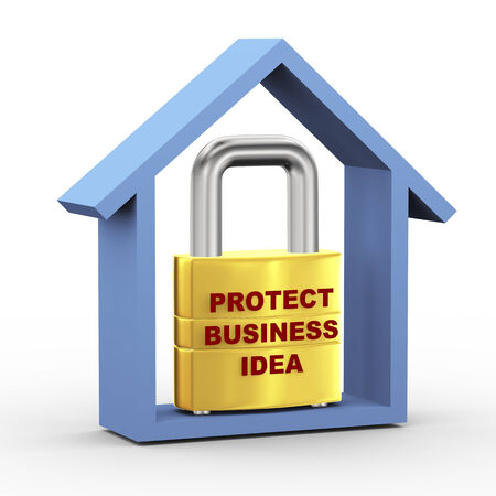 patent key: 3d illustration of padlock with protect business idea inside house.  Stock Photo