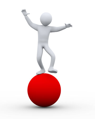 equalize: 3d illustration of man on ball balancing.  3d rendering of human people character. Stock Photo